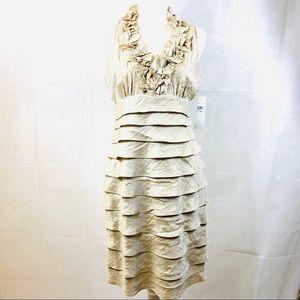 London Times Gold Ruffled Dress